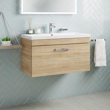 Drench Emily 800mm Wall Mounted 1 Drawer Vanity Unit & Basin - Natural Oak