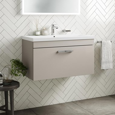Drench Emily 800mm Wall Mounted 1 Drawer Vanity Unit & Basin - Matt Stone Grey