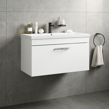 Drench Emily 800mm Wall Mounted 1 Drawer Vanity Unit & Basin - Gloss White
