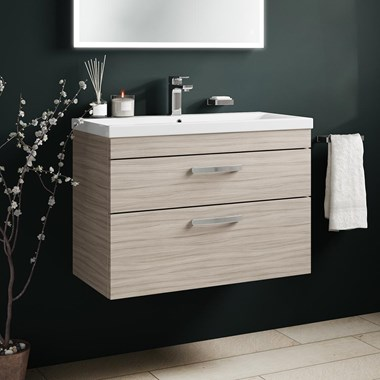 Drench Emily 800mm Wall Mounted 2 Drawer Vanity Unit & Basin - Driftwood