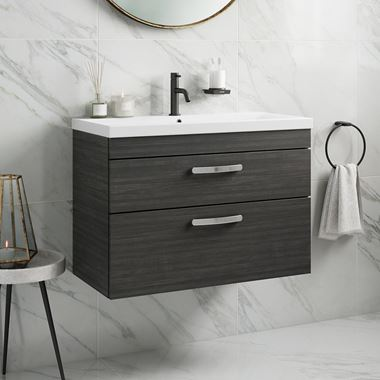 Drench Emily 800mm Wall Mounted 2 Drawer Vanity Unit & Basin - Hacienda Black