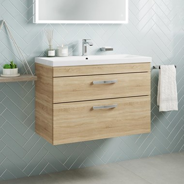 Drench Emily 800mm Wall Mounted 2 Drawer Vanity Unit & Basin - Natural Oak
