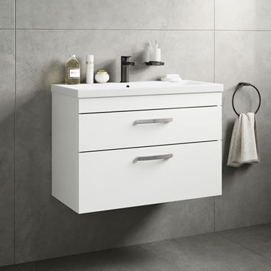 Drench Emily 800mm Wall Mounted 2 Drawer Vanity Unit & Basin - Gloss White