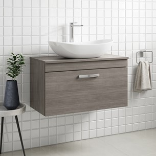 Drench Emily 800mm Wall Mounted 1 Drawer Vanity Unit and Countertop - Grey Avola