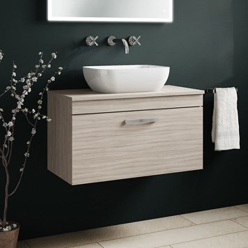 Drench Emily 800mm Wall Mounted 1 Drawer Vanity Unit and Countertop - Driftwood