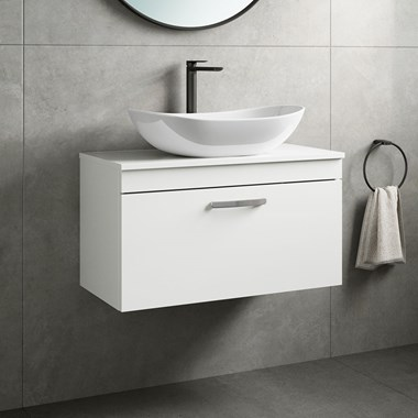 Drench Emily 800mm Wall Mounted 1 Drawer Vanity Unit and Countertop - Gloss White