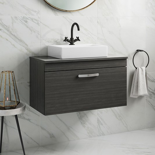 Drench Emily 800mm Wall Mounted 1 Drawer Vanity Unit and Countertop - Hacienda Black
