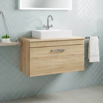 Drench Emily 800mm Wall Mounted 1 Drawer Vanity Unit and Countertop - Natural Oak