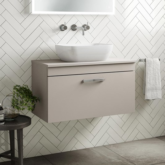 Drench Emily 800mm Wall Mounted 1 Drawer Vanity Unit and Countertop - Matt Stone Grey