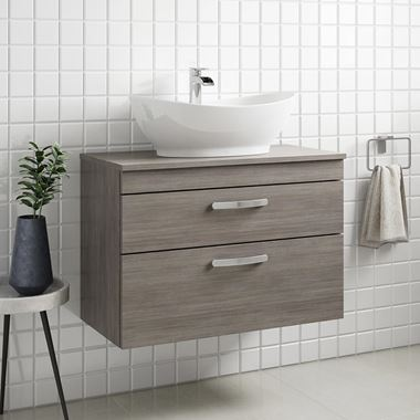 Drench Emily 800mm Wall Mounted 2 Drawer Vanity Unit and Countertop - Grey Avola