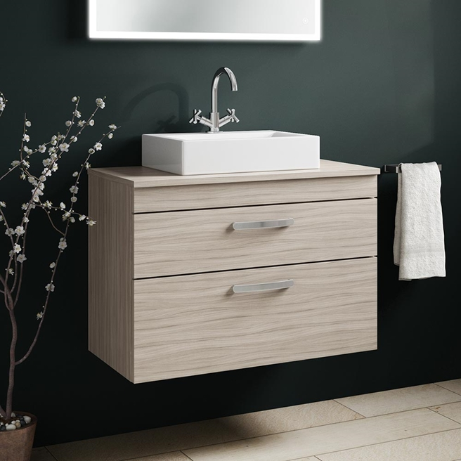 Drench Emily 800mm Wall Mounted 2 Drawer Vanity Unit and Countertop - Driftwood