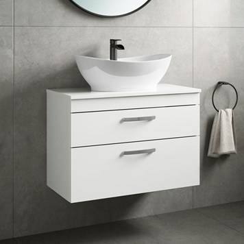Drench Emily 800mm Wall Mounted 2 Drawer Vanity Unit and Countertop - Gloss White