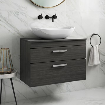 Drench Emily 800mm Wall Mounted 2 Drawer Vanity Unit and Countertop - Hacienda Black