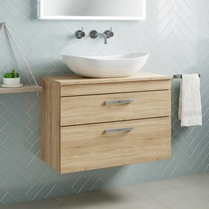 Drench Emily 800mm Wall Mounted 2 Drawer Vanity Unit and Countertop - Natural Oak