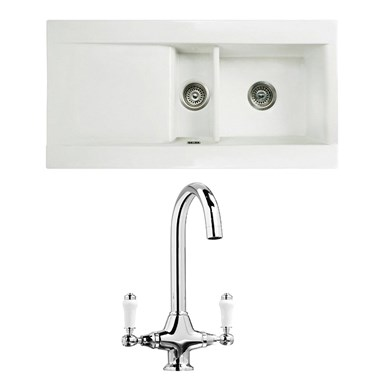 RAK 1000 Gourmet Dream 1.5 Bowl White Ceramic Fireclay Kitchen Sink & Vellamo Victoria Traditional Kitchen Mixer Tap