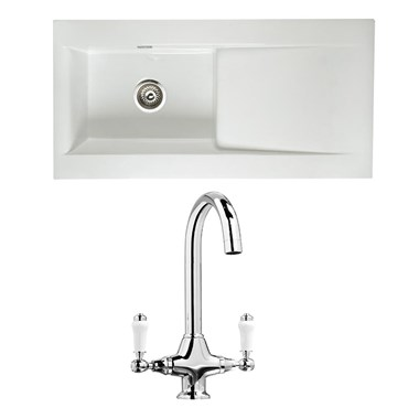 RAK 1000 Gourmet Dream 1 Bowl White Ceramic Fireclay Kitchen Sink & Vellamo Victoria Traditional Kitchen Mixer Tap