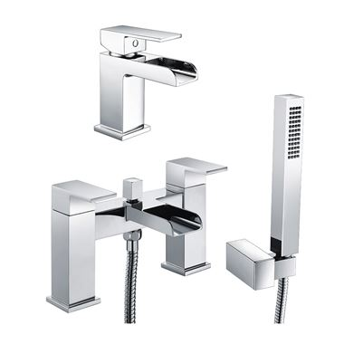 Vellamo Reve Waterfall Basin Mixer & Waterfall Bath Shower Mixer Value Pack