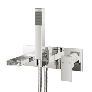 Vellamo Reve Wall Mounted Waterfall Bath Shower Mixer With Shower Kit