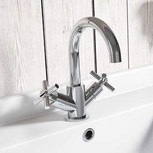Vellamo Cross Mono Basin Mixer - Crosshead Handles