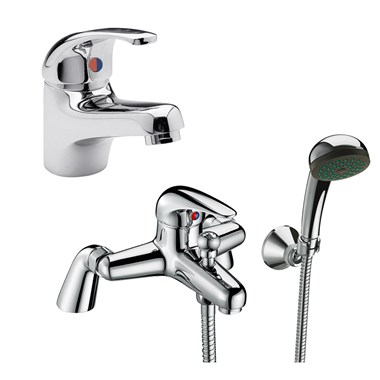 Vellamo Echo Basin Mixer & Bath Shower Mixer Pack