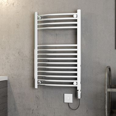 Brenton Apollo Electric Curved Chrome Heated Towel Rail - 800 x 500mm