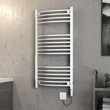 Brenton Apollo Electric Curved Chrome Heated Towel Rail - 1000 x 500mm