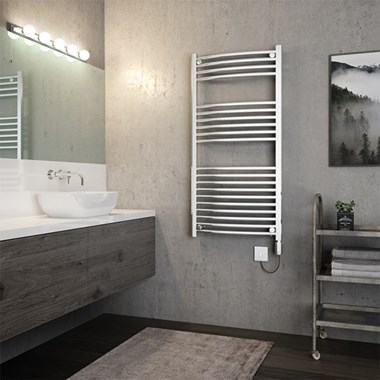 Brenton Apollo Electric Curved Heated Towel Rail - 1200 x 600mm - On/Off Element