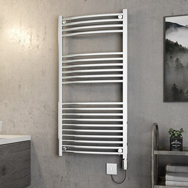 Brenton Apollo Electric Curved Chrome Heated Towel Rail - 1200 x 600mm