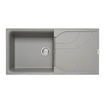 Reginox Ego Titanium Grey Granite Composite Large Single Bowl Kitchen Sink with Reversible Drainer - 1000 x 500mm