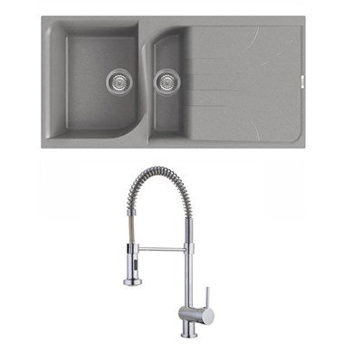 Reginox Ego Titanium Grey Granite Composite 1.5 Bowl Kitchen Sink & Vellamo FlexiSpray Mixer Tap