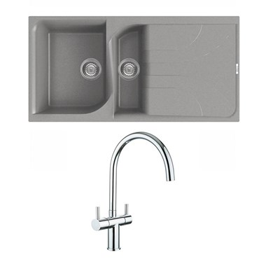 Reginox Ego Titanium Grey Granite Composite 1.5 Bowl Kitchen Sink & Vellamo Caspian Mono Mixer Tap