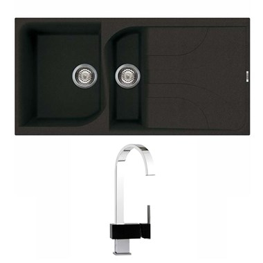 Reginox Ego 475 1.5 Bowl Black Granite Sink & Waste Kit and Mayfair Edge Mono Kitchen Mixer Tap - Black/Chrome