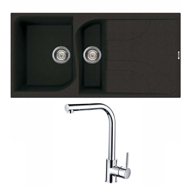 Reginox Ego 475 1.5 Bowl Black Granite Sink & Waste Kit and Vellamo Savu Mono Pull Out Kitchen Mixer