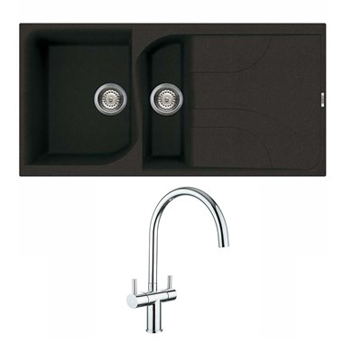 Reginox Ego 475 1.5 Bowl Black Granite Sink & Waste Kit and Vellamo Caspian Dual Lever Mono Kitchen Mixer