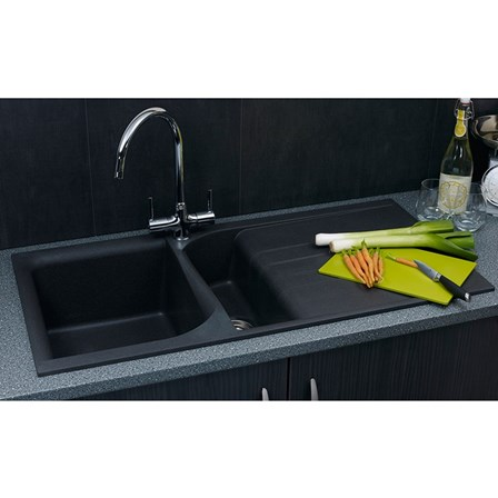 Reginox Ego 1 5 Bowl Black Granite Composite Kitchen Sink