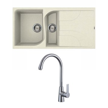Reginox Ego 475 1.5 Bowl Cream Granite Composite Kitchen Sink and Mayfair Pacific Mono Kitchen Mixer