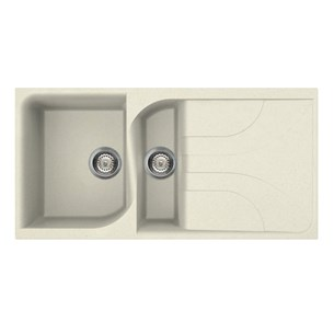 Reginox Ego 1.5 Bowl Cream Granite Composite Kitchen Sink & Waste Kit with Reversible Drainer - 1000 x 500mm