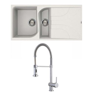 Reginox Ego 475 1.5 Bowl White Granite Composite Kitchen Sink and Vellamo FlexiSpray Kitchen Mixer
