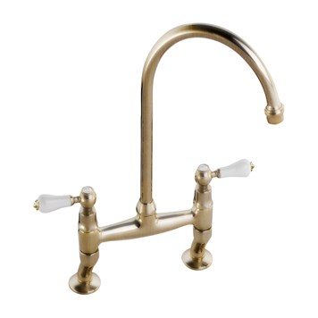 Clearwater Elegance Twin Lever Bridge Sink Mixer with Swivel Spout - Antique Bronze