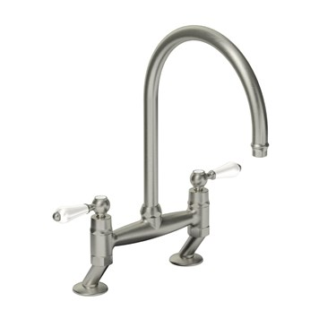 Clearwater Elegance Twin Lever Bridge Sink Mixer with Swivel Spout - Brushed Nickel