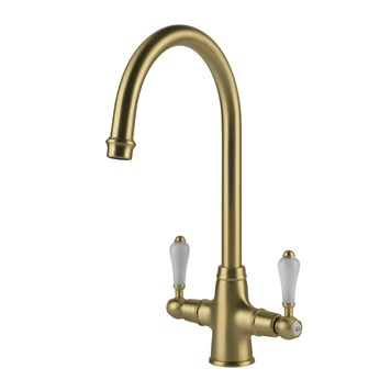 Clearwater Elegance Traditional Twin Lever Mono Kitchen Mixer - Brushed Brass