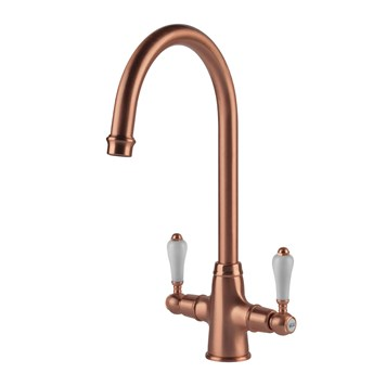 Clearwater Elegance Traditional Twin Lever Mono Kitchen Mixer - Brushed Copper
