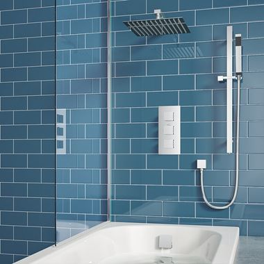 Drench Elijah Concealed Shower Valve with Fixed Head, Slide Rail Kit & Overflow Bath Filler