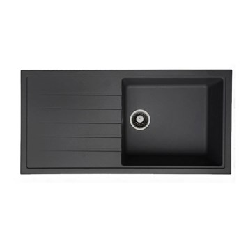Vellamo Horizon Large Single Bowl Black Kitchen Sink & Waste