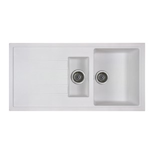 Vellamo Horizon 1.5 Bowl White Kitchen Sink & Waste