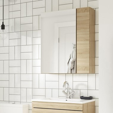 Drench Emily 600mm Mirror Cabinet with Offset Door - Natural Oak