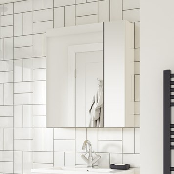 Drench Emily 600mm Mirror Cabinet with Offset Door - Gloss White