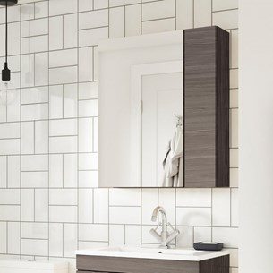 Drench Emily 600mm Mirror Cabinet with Offset Door - Grey Avola