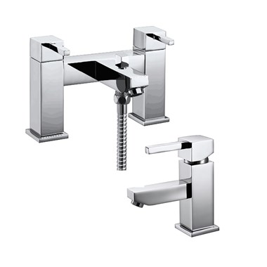 Vellamo Blox Basin Mixer & Bath Shower Mixer Pack