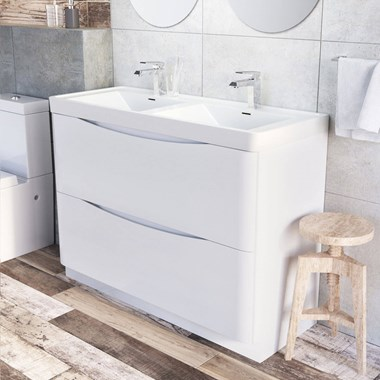 Harbour Clarity 1200mm Floorstanding Double Basin Vanity Unit - Gloss White